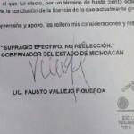 Causa suspicacias en las redes sociales el documento presuntamente firmado por el gobernador Fausto Vallejo