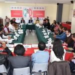 El dirigente estatal del tricolor, acompañado por la secretaría general del CDE en Michoacán, Rosalía Miranda Arévalo, sostuvo encuentros con bloques de 20 representaciones de comités