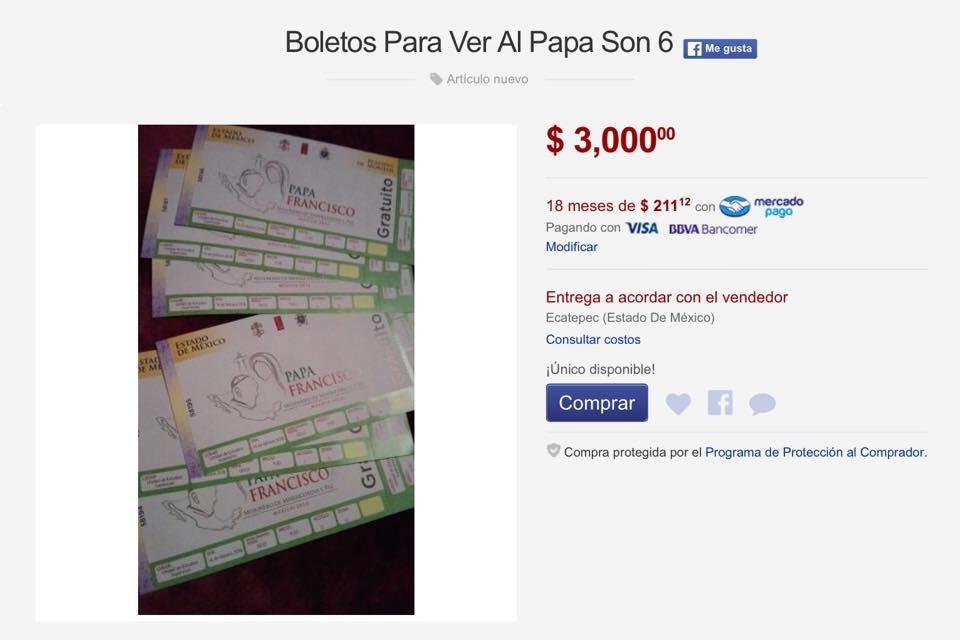 sigue en mercado libre venta de boletos para eventos del papa a