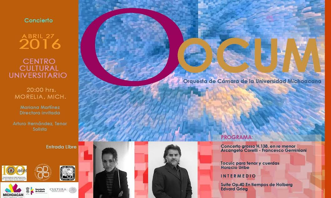 La cita es el próximo miércoles 27 de abril a las 20:00 hrs. en al Auditorio Nicolaita del Centro Cultural Universitario, ubicado en la Avenida Madero Poniente #350 esquina Galeana, en el Centro Histórico de Morelia, entrada gratuita