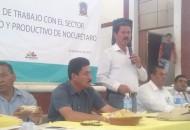 Tentory García dio a conocer que al Ayuntamiento de Nocupétaro se le enviará maquinaria pesada para que se construyan más de 50 obras de infraestructura hidráulica