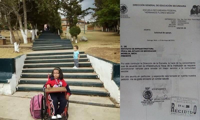 De acuerdo con el denunciante, en la Escuela Primaria Doctor Nicolás León el director rechazó el apoyo que ofreció el entonces diputado Eleazar Aparicio para la construcción de rampas