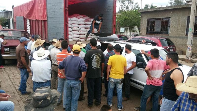 Con la entrega de tres embarques cada uno de 35 mil kilogramos del producto a campesinos de las comunidades rurales de Tumbiscatío y la Concepción así como en la Tenencia Morelos, se beneficiaron a 220 productores