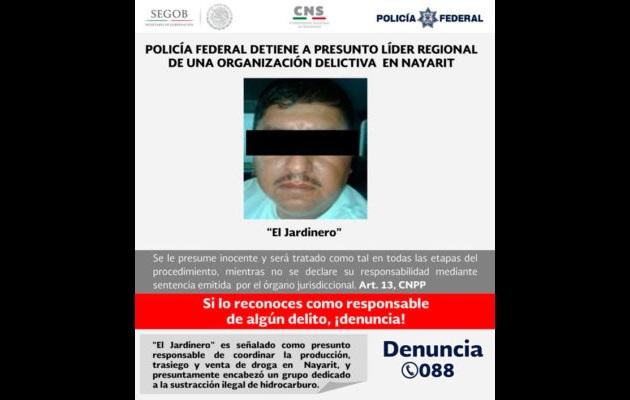 Se trata del presunto líder en Nayarit de una organización delictiva cuyo centro de operaciones se encuentra en el estado de Jalisco