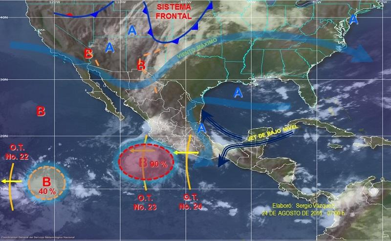 Un canal de baja presión se extenderá en el interior del país, y en combinación con la entrada de humedad del Océano Pacífico y el Golfo de México, provocará chubascos fuertes con tormentas muy fuertes