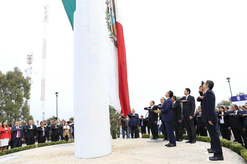 Las autoridades entonaron el Himno Nacional acompañado del 12º Batallón de Infantería de la 21 Zona Militar