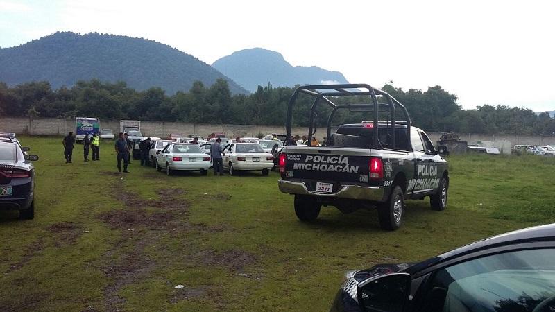 Todos los vehículos detenidos procedían del municipio de Jungapeo y eran dirigidos por el señor Javier Reyes Rojas, concesionario del servicio público de ese municipio