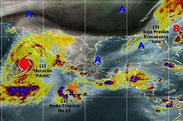 El huracán Paine provocará tormentas muy fuertes en regiones de Baja California Sur. El ciclón tropical mantiene una trayectoria hacia la costa occidental de la Península de Baja California