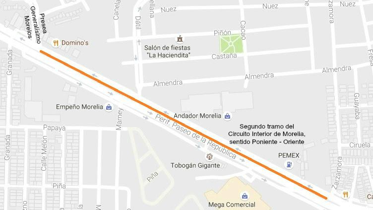 La sustitución de carpeta asfáltica por concreto hidráulico en los tramos mencionados, forma parte de la primera etapa de la construcción del Circuito Interior con vialidad continua de la capital michoacana