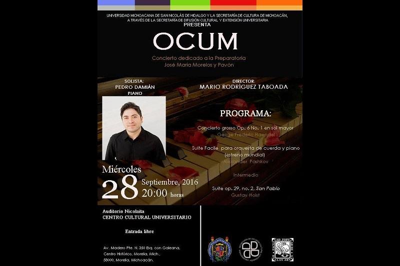 Con su director titular, la Orquesta de Cámara de la Universidad Michoacana invita al pianista Pedro Damián