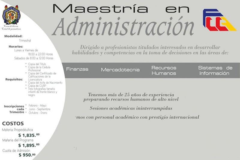 Mayores informes en el correo electrónico fccaposgradomamf@gmail.com, teléfonos (443) 316 74 11 y 44 31 45 76 65 en horario de 9:00 a 14:00 horas, o bien consultar la página www.fcca.umich.mx/coord_posgrado.php
