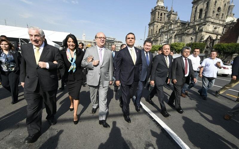 Aureoles Conejo formó parte de la comisión que recibió el titular de la Secretaría de Hacienda en Palacio Nacional