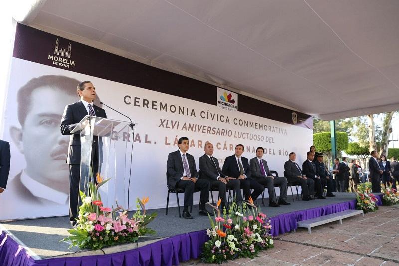Encabeza Silvano Aureoles XLVI aniversario luctuoso del General Lázaro Cárdenas del Río