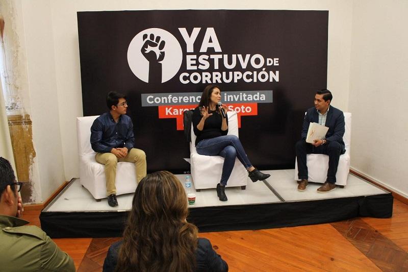 Giovanni Marcelino Morales, Delegado de Jóvenes de Movimiento Ciudadano, señaló que a través del combate a la corrupción es como México podrá lograr una sana democracia