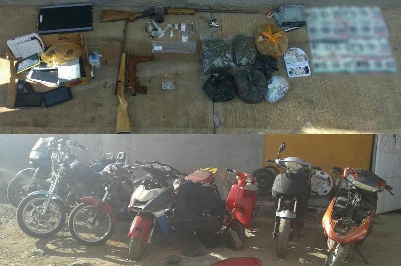 Los presuntos implicados, vehículos, armas de fuego, placas de circulación y droga fueron puestos a disposición de la autoridad competente