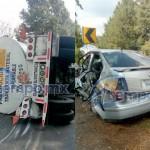 Los heridos fueron el chofer de la pipa y los tres ocupantes del vehículo compacto, mismos que fueron trasladados al Hospital Civil de Morelia (FOTOS: FRANCISCO ALBERTO SOTOMAYOR)
