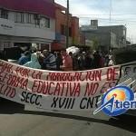 Los manifestantes exigen pago de bonos pendientes y expresan su rechazo a la reforma educativa (FOTO: FRANCISCO ALBERTO SOTOMAYOR)