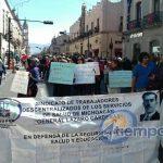 Los manifestantes partieron de la Delegación Administrativa de la SSM hacia el Centro Histórico de Morelia (FOTOS: FRANCISCO ALBERTO SOTOMAYOR)