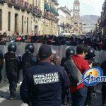 En esta ocasión las fuerzas del orden no actuaron para replegar a los manifestantes que provocaron caos vial en el Centro Histórico de Morelia