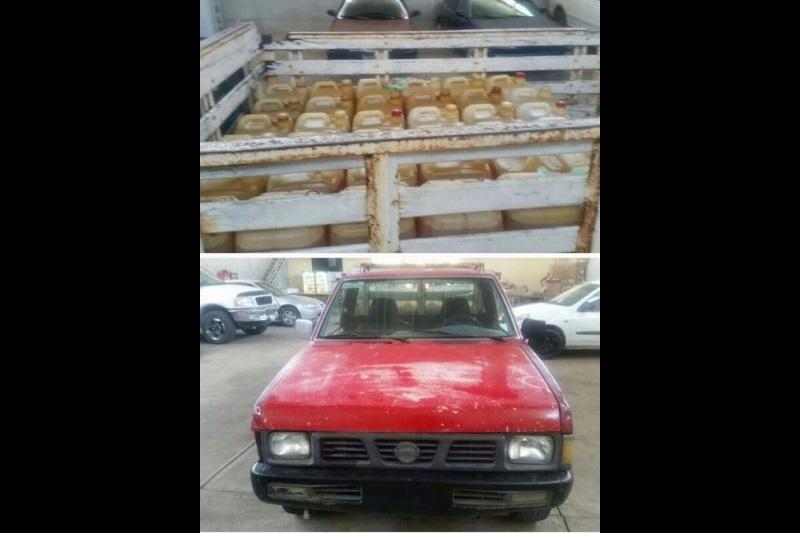 El detenido, la camioneta y los 600 litros de gasolina fueron puestos a disposición de la autoridad legal