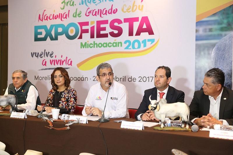 Más de una docena de eventos y exposiciones de primerísimo nivel, incluyendo la III Muestra Nacional de Ganado Cebú, del 28 de abril al 21 de mayo, en el marco y en la sede de la Expo Fiesta Michoacán 2017