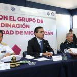 Aureoles Conejo aseveró que este trabajo no cesará hasta consolidar la transformación del estado, y adelantó que están por concluirse algunos de los 10 cuarteles regionales que tendrá la Policía Michoacán