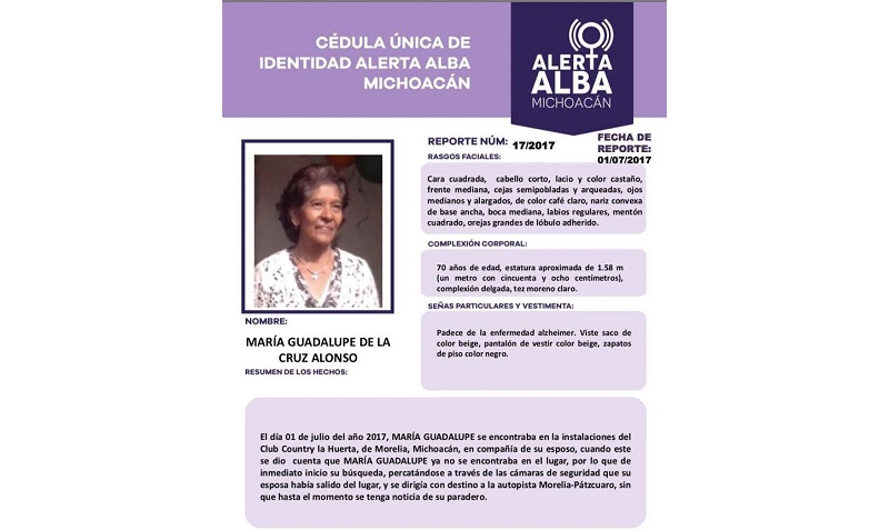 Posteriormente familiares se trasladaron a las instalaciones de la PGJE, activando la Alerta Alba, la cual describía a la persona con antecedentes de Alzheimer y tipo de vestimenta