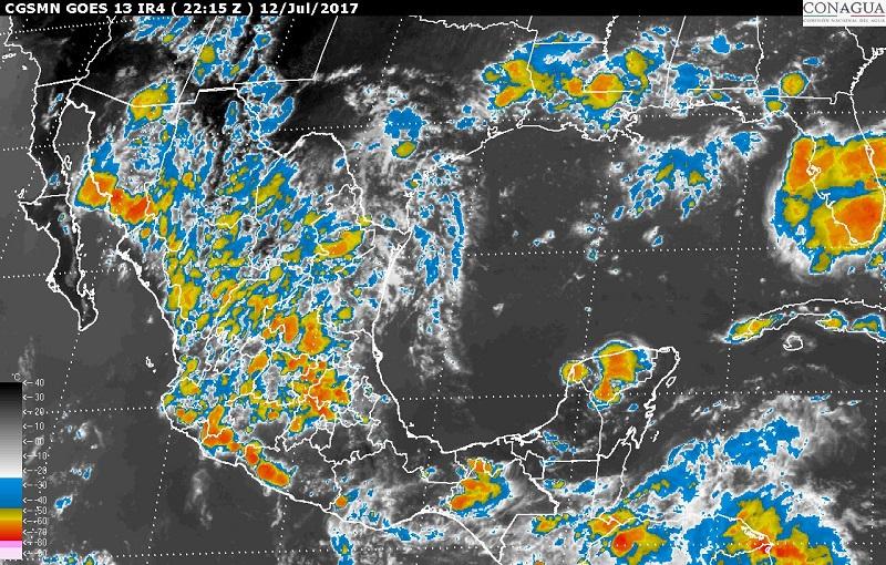 Asimismo, se prevén tormentas fuertes en sitios de Sonora, Coahuila, Nuevo León, San Luis Potosí, Querétaro, Hidalgo, Tlaxcala, Ciudad de México, Morelos y Colima