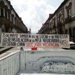 Maestros impidieron por más de una hora el ingreso y egreso del Palacio Legislativo, además, cerraron la calle principal de Morelia en total impunidad (FOTO: FRANCISCO ALBERTO SOTOMAYOR)