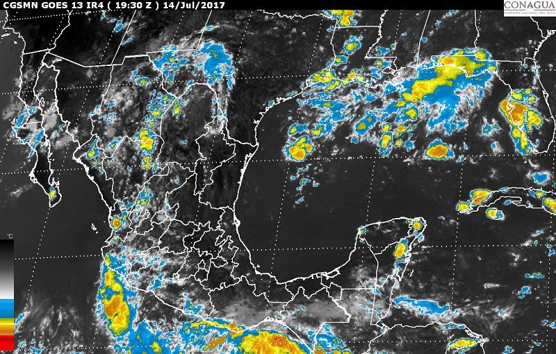 Asimismo, se pronostican lluvias con intervalos de chubascos en sitios de Baja California, Baja California Sur, Coahuila, Nuevo León, Tamaulipas, San Luis Potosí, Estado de México, Ciudad de México, Morelos y Quintana Roo, y lluvias dispersas en Querétaro, Hidalgo y Tlaxcala