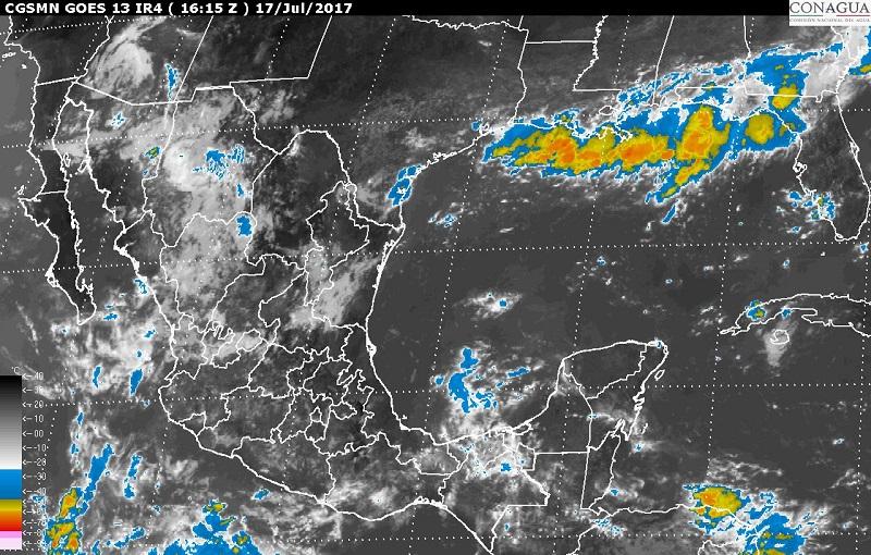 Asimismo, se pronostican lluvias con intervalos de chubascos en Tamaulipas, San Luis Potosí y la Ciudad de México, y lluvias dispersas en Baja California, Baja California Sur, Guanajuato, Querétaro, Hidalgo y Tlaxcala