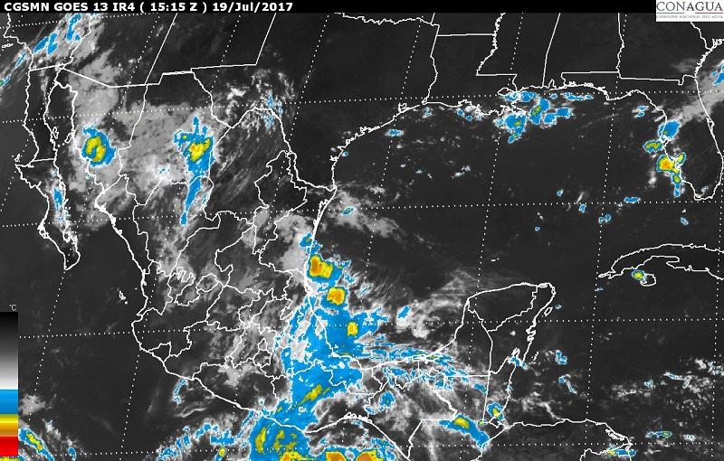 Las lluvias serán ocasionadas por un canal de baja presión extendido en el noroeste y occidente de México y la Onda Tropical Número 16, localizada en el centro y el sur del país