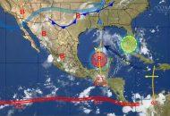 Asimismo, se pronostican lluvias con intervalos de chubascos en áreas de Zacatecas, Nuevo León, San Luis Potosí y Querétaro, y lluvias dispersas en Baja California Sur, Coahuila, Guanajuato y Aguascalientes