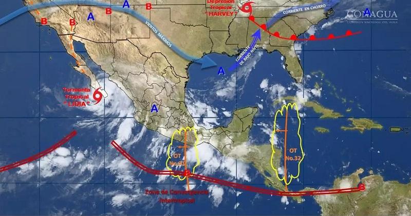 Las condiciones mencionadas serán originadas por la tormenta tropical Lidia, la Onda Tropical Número 31 en Guerrero, un canal de baja presión en el interior de México y por el ingreso de la Onda Tropical Número 32 en el oriente de la Península de Yucatán