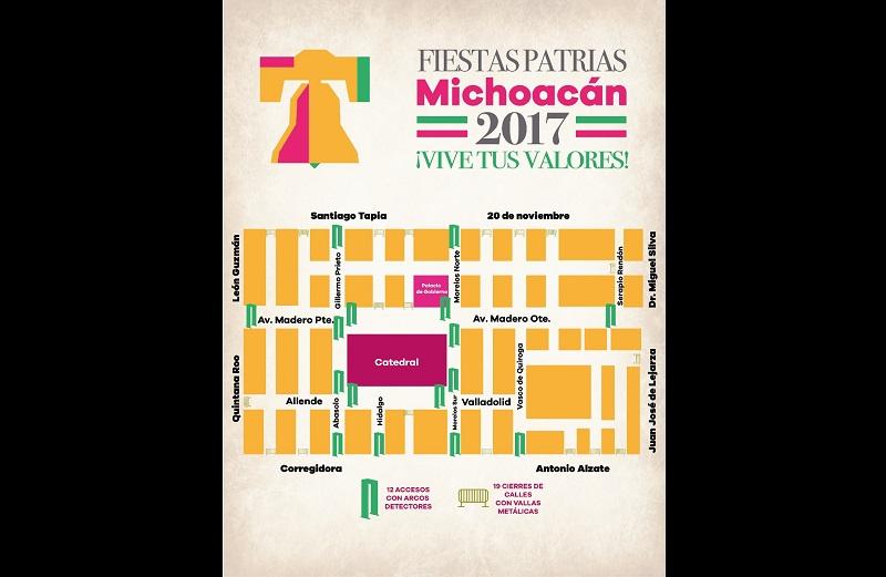 Para el día 16 de septiembre, con motivo del desfile cívico militar, serán instalados 20 arcos detectores y serán cerradas calles con 43 vallas