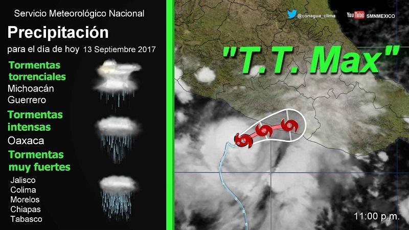 Para el jueves se pronostican tormentas intensas y oleaje de dos a tres metros en las costas de Michoacán, Guerrero y Oaxaca