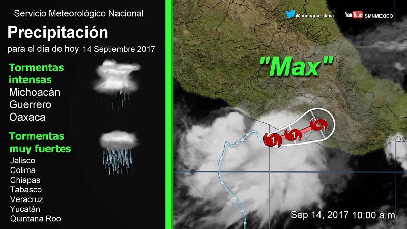 El SMN, en coordinación con el Centro Nacional de Huracanes de Miami, Florida, Estados Unidos de América, estableció zona de vigilancia para Guerrero, desde Punta Maldonado hasta Zihuatanejo