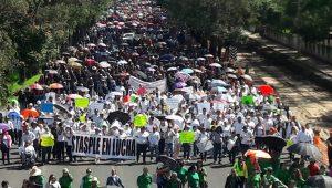 Finalmente al filo de la una de la tarde los contingentes arribaron al Centro Histórico complicando más la circulación de la Avenida Madero, que permaneció por varios minutos cerrada, hasta que poco a poco los manifestantes comenzaron a retirarse y liberaron la más importante arteria de la ciudad