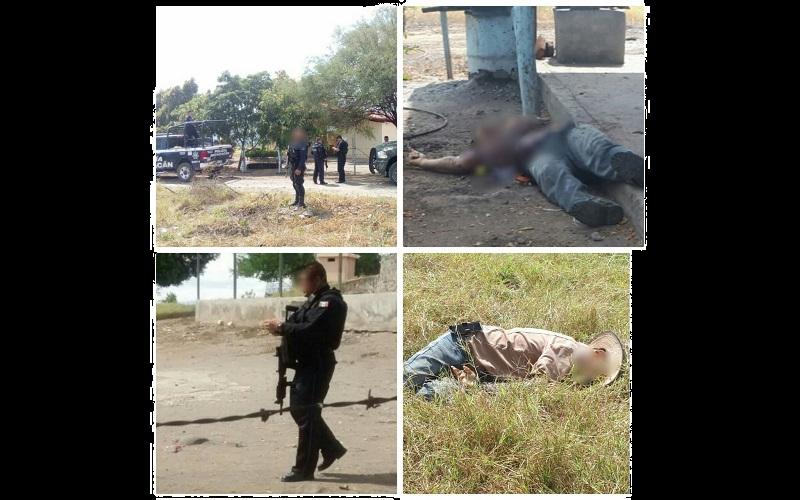 """En el ataque quedo muerto un menor de edad, hijo de Jorge Soto, arribando después personal de la Policía Michoacán, Policía Federal y Ejército Mexicano a este lugar ubicado en la carretera que comunica a la presa """"El Rosario"""""""