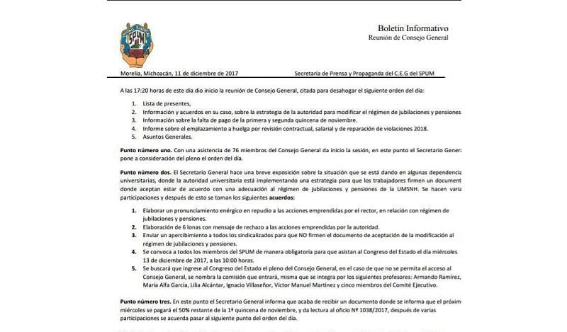 El sindicato acordó de la misma manera que el próximo lunes 18 de diciembre se manifestarán de nueva cuenta en las plazas de Morelia con una logística por definir