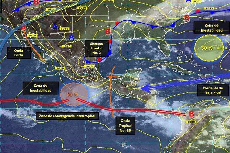 Estas condiciones se intensificarán y se moverán de manera paralela a las costas de Guerrero y Michoacán, con lo cual se refuerza el potencial de lluvias para la gran parte de la entidad