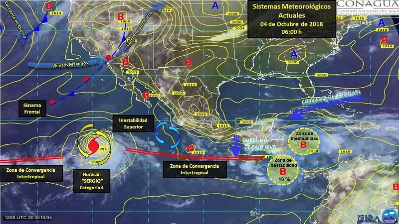 Tormentas de fuertes a puntuales muy fuertes se esperan en Nayarit, Jalisco, Colima, Michoacán, Guerrero y Puebla