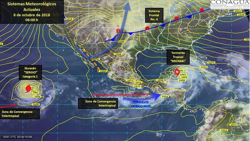 El abundante ingreso de aire húmedo del Océano Pacífico y una zona de inestabilidad atmosférica superior, reforzarán el potencial de tormentas en el sur y sureste del territorio nacional