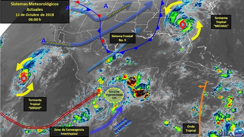 Por otra parte, el sistema frontal No. 5 se extenderá sobre el norte del Golfo de México y noreste del país