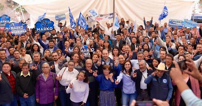 Marko Cortés realizó gira por Tlaxcala para presentar a los militantes su proyecto de unidad