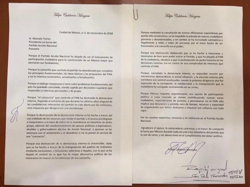 Desde que dejó la presidencia en 2012, Calderón había mantenido una postura crítica hacia dirigentes del partido como Gustavo Madero, Ricardo Anaya y Damián Zepeda.