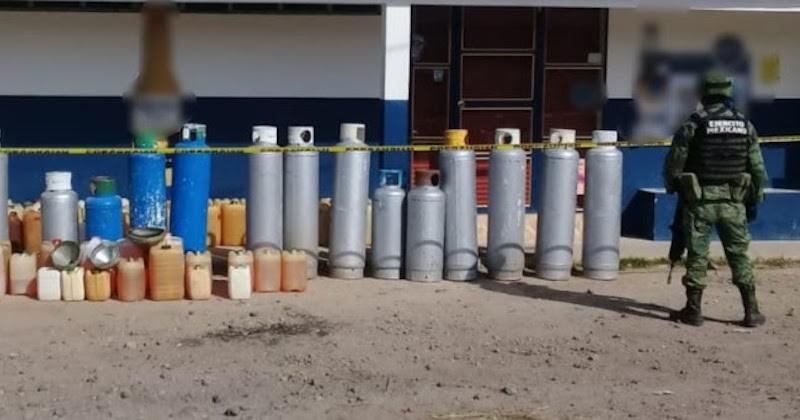 Un hombre identificado como Heriberto C., de 51 años de edad, junto al hidrocarburo y cilindros, será puesto a disposición de la autoridad correspondiente