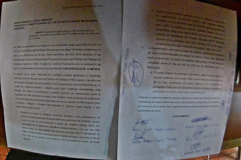 En el documento firmado por los demandantes con 12 meses sin salarios, también solicitan el apoyo al Presidente de la República para que las autoridades correspondientes les entreguen copia de sus contratos laborales que vienen firmando al inicio de cada semestre