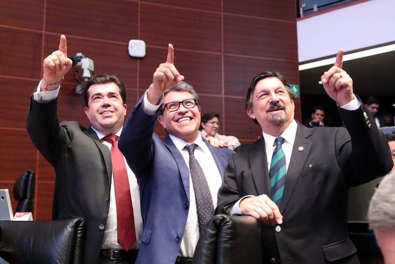 Tres senadores polémicos del Morena: Pedro Haces, Ricardo Monreal y Napoleón Gómez Urrutia, en ese orden