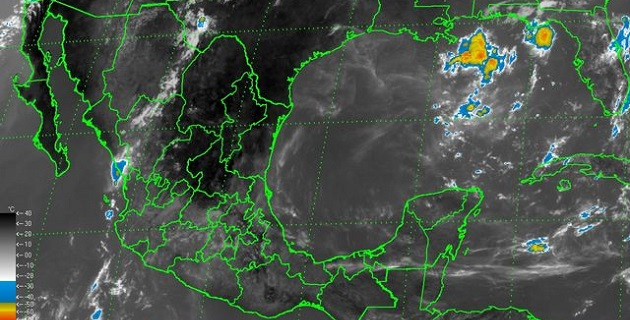 Se mantiene un canal de baja presión sobre el noroeste, el occidente y el centro de la República Mexicana, donde favorece nublados con lluvias de moderadas a fuertes